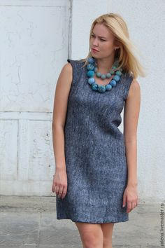 Gray felt dress with felt jewellery