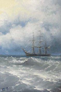 Frigate in Sea 4x 6 original oil painting by vladimirmesheryakov