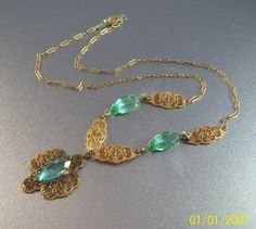 Vintage Art Deco Filigree Lavalier Necklace by LynnHislopJewels