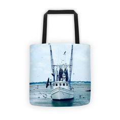 Shem Creek Boat- Tote Bag