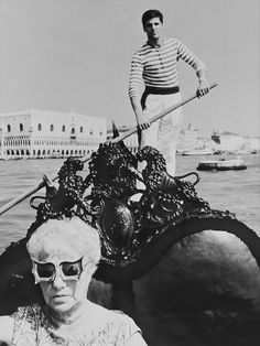 Peggy Guggenheim on the canals of Venice