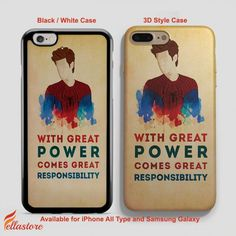 beautiful Spiderman Quote Great Power Responsibility iPhone 7-7 Plus Case, iPhone 6-6S Plus, iPhone 5 5S SE, Samsung Galaxy S8 S7 S6 Cases and Other