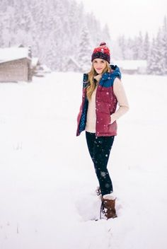 11.15 winter wonderland (Patagonia pom beanie in sumac red + Patagonia down vest in oxblood red + J Crew 'cambridge' cable turtleneck sweater in heather latte + Hudson 'krista' super skinny jeans in noir coate + Sorel 'caribou' boots in buff)