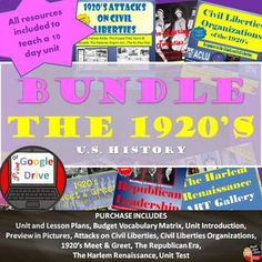 "This product includes everything you need to teach a 10-day unit on ""The Twenties"" for your secondary U.S. History class. Common-Core aligned! Purchase in BUNDLE and you will automatically save 20% off of each product! A pacing guide and detailed lesson plans are included! ""Work smarter"