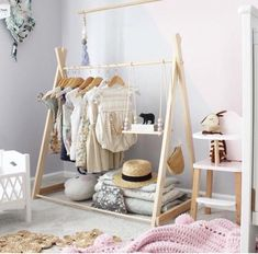 Clothing rack fixed base child size clothing rack nursery decor clothing hanger dress up kids Childrens room Wooden Clothes Rack, Clothes Rail, Clothes Hanger, Diy Clothes, Fashion Clothes, Baby Clothes Storage, Kids Fashion, Project Nursery, Nursery Decor