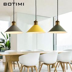 Botimi Fashion Led Pendant Lights W/ Metal Lampshade Lamparas Colgantes Modern Nordic Hanging Lamp For Dining Kitchen Lighting Led Pendant Lights, Pendant Lighting, Interior Design Tips, Interior Design Living Room, Hanging Lights, Hanging Lamps, Ceiling Texture, Glass Dining Table, Dining Room