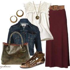 long burgundy skirt, leather wide belt, ivory feminine blouse, jean jacket