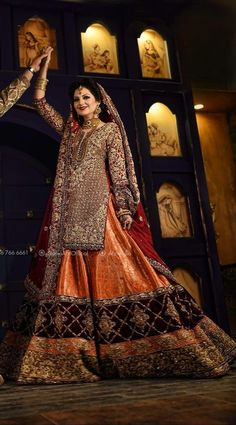 Beutifull bridal lahnga in red maroon and orange color work embellished with pure dabka zari nagh pearls and crystals work.(Please Ask Us Your exact Dresses are Manufactured designs/Cutting/stitching Under Th Bridal Dresses 2017 Pakistani, Asian Bridal Dresses, Bridal Mehndi Dresses, Bridal Dresses Online, Pakistani Dress Design, Pakistani Outfits, Bridal Outfits, Bridal Gowns, Indian Bridal Fashion