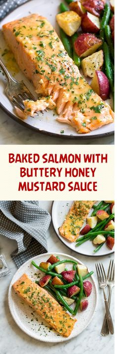 Baked Salmon with Buttery Honey Mustard Sauce - Kitchen Book Recipes Honey Mustard Recipes, Homemade Honey Mustard, Honey Mustard Salmon, Honey Mustard Sauce, Honey Recipes, Healthy Recipes, Delicious Recipes, Fish Recipes Roasted, Salmon Pasta Recipes