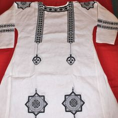 Black Embroidery on Star Coptic Tunic
