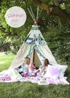Summer picnic lunch in a teepee! I brought out some of my daughters favorite dolls, books, blankets and pillows. Nothing fancy, but it makes it look so cozy, doesn't it? I wanted to jump right in and sip on some raspberry lemonade.