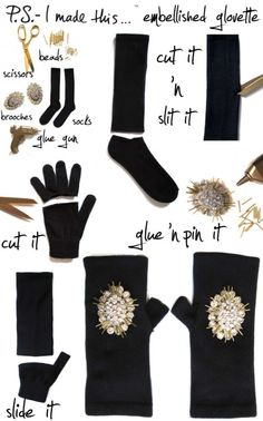 We have glove patterns, leather glove cutouts as well as mega tons of jewellery bits for embellishments et al at the depot. This ain't no bedazzlefest, this is true blue embellishment bliss :D