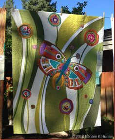 at the recent Sisters, Oregon outdoor quilt show and posted by Bonnie Hunter at .Seen at the recent Sisters, Oregon outdoor quilt show and posted by Bonnie Hunter at . Patchwork Quilting, Applique Quilts, Cotton Quilting Fabric, Scrappy Quilts, Bonnie Hunter, Quilting Projects, Quilting Designs, Quilting Ideas, Butterfly Quilt