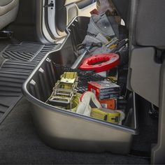 Contain organize and conceal items under the rear seat of your vehicle with this durable molded plastic Underseat Storage Box Sierra 1500 Underseat Storage Organizer Ebony Crew Cab Chevrolet Silverado 1500, Silverado Truck, Chevy Trucks, Pickup Trucks, Chevy 4x4, Lifted Trucks, Silverado 2500, Silverado Wheels, Chevy Stepside