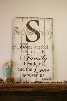 Bless The Food Family Sign Wood Kitchen Pallet Rustic Wall Decor Dining Room