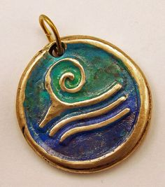 Ocean Wave Pendant  Handcrafted Bronze Enamel by WildRavenStudio