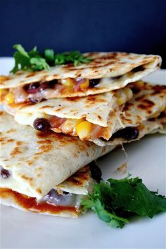 black bean quesadillas - a meatless main dish Made this tonight but had to use pinto beans rather than black & added a little jalepeno & green onion just to use them up & not waste.  Hubs & daughter liked them a lot, as did I.  Son didn't., but lately he doesn't like anything.