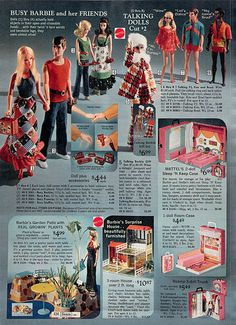 1972 Sears WishBook Wish Book Catalog Page - Busy Barbie and Friends Talking Dolls and Perfectly Plaid Gift Set Garden Patio Surprise House Case / Trunk Barbie Toys, Barbie Clothes, Barbie Stuff, Barbie Dress, Jane Fonda, Jorge Ben, Barbie Family, Tomboys, Plus 4