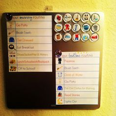 Diy magnetic calendar and chore chart for preschooler love the concept, adaptable for my older kiddos plus behavior modification Magnetic Calendar, Kids Calendar, Chores For Kids, Activities For Kids, Chore Board, Behavior Modification, Printable Calendar Template, Behaviour Chart, Monthly Planner
