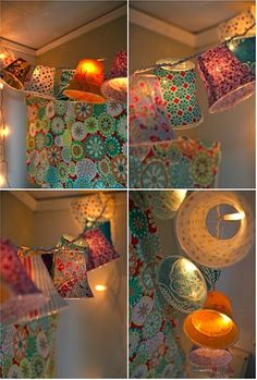 Cover plastic cups in fabric, attach to string lights! Pretty. - Click image to find more DIY & Crafts Pinterest pins