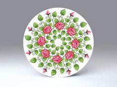 Rote Rosen • freistehende, runde Falt-Karte für Standardkuverts • cc211.05 • #Karte #rund #Dekoration #Rosen #Mandala #radial #Papier  www.centuryo.com