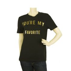Zoe Karssen You are my Favorite Black Gold Womans T- Shirt Top - Size M Gold T Shirts, You Are My Favorite, My Favorite Things, Zoe Karssen, T Shirts For Women, Black Gold, Mens Tops, Stuff To Buy