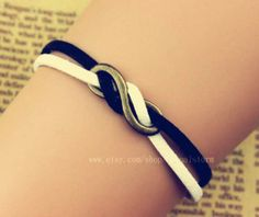 Infinity bracelet, infinite hope bracelets, Black and white cotton rope winding each other bracelet, special bracelets on Wanelo