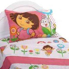 Dora the Explorer sheets and Dora bedroom ideas.