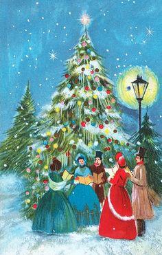 Old Christmas Post Cards — Christmas Carols Old Time Christmas, Old Fashioned Christmas, Christmas Scenes, Victorian Christmas, Christmas Music, Retro Christmas, Christmas Greetings, Christmas Crafts, Barney Christmas