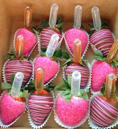 Pipettes in strawberries (valentines baking gifts)