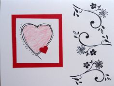 This one is my favorite - I used a cut out heart for a pattern, then drew a line around it, colored the primary one pink. Then I added a line of dots (with a pencil) on one side and added silver glitter to them, next I added a tiny cut-out heart. Last, but not least, I stamped the flourishes...