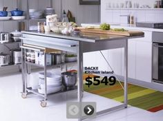 Modern Mobile Kitchen Island butcher block kitchen cart with drop leaf in natural finish