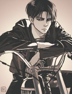 """bev-nap: """"@starrypier and @dirtylevi this is all your fault! xD I was inspired to draw biker!Levi because dammit it's too sexy not to On another note: I should probably go to sleep now """""""