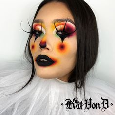 Create this Halloween's go-to clown look using Kat Von D's: Tattoo Liner Vegan Loves Palette Go Big Or Go Home Mascara Available exclusively at Debenhams