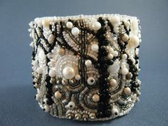 Winter Solitude Bead Embroidery Cuff  Bead by crimsonfrog on Etsy, $225.00