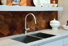Check out this unexpected use of wood for a #kitchen backsplash