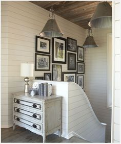 Sweet stairwell and shiplap walls