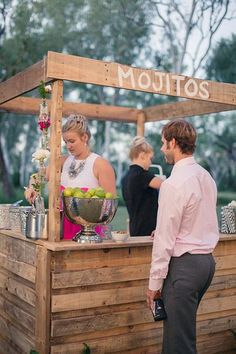 rustic wooden pallet wedding food bar