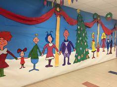 Whoville hallway school Whoville Christmas Decorations, Grinch Christmas Decorations, Grinch Christmas Party, Grinch Party, Christmas Store, Christmas Crafts, School Hallway Decorations, Hallway Ideas, Christmas Classroom Door