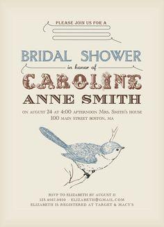Printable Bridal Shower Invitation - Simply Vintage Old Paper Design E02