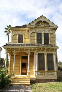 1887 Victorian Manor House, The Ford House, Los Angeles, California, CA Folk Victorian, Victorian Cottage, Victorian Homes, Abandoned Houses, Old Houses, Beautiful Buildings, Beautiful Homes, Yellow Houses, Victorian Architecture