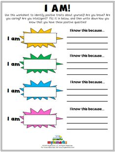 Therapeutic worksheets focused on helping kids and teens improve self-esteem and build confidence. Tools assist kids in building confidence, identifying positive qualities, and developing a healthy sense of self. Self Esteem Activities, Counseling Activities, Play Therapy Activities, Confidence Building Activities, Emotions Activities, Therapy Worksheets, Worksheets For Kids, Printable Worksheets, Printables