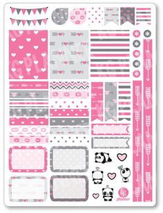 Panda Love Decorating Kit / Weekly Spread Planner Stickers for Erin Condren Planner, Filofax, Plum Paper