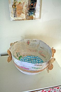 paper bowl with collage decoration and handmade paper flowers :: live bohemian via flickr