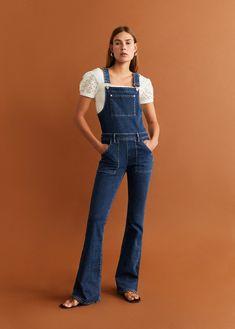Flared denim dungarees - Women | Mango United Kingdom Denim Overalls Outfit, Denim Dungarees, Mango, Long Jumpsuits, Denim Flares, Denim Fashion, Stylish Outfits, Cotton Fabric, My Style