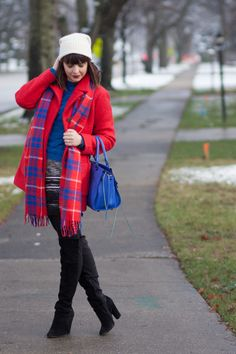 Red and blue - can they really go together? Yes, yes they can, and they should! Red J.Crew coat and a scarf serve as a great pair here. Add a blue Rebecca Minkoff bag and a chunky sweater and a monochrome mini skirt from H&M - and you've got yourself a well-put together outfit. And, of course, black suede OTK boots are a must with any look ;)