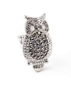 Silver Bejeweled Owl Stretch Ring