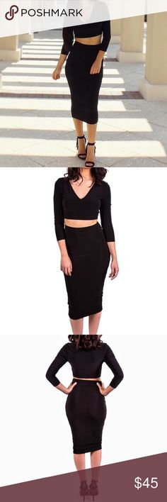 Classic Two Piece Black Set With a classic black set you always have the advantage of mixing and matching the pieces with other pieces from your wardrobe! This classic two piece set features a soft, stretchy material with a long sleeve crop top and a matching black midi skirt.   Wearing a size small in pictures. 96% Polyester, 4% Spandex  Color: Black Skirts Skirt Sets