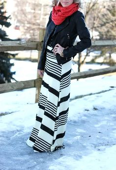 2675a8007b black & white Striped Maxi Skirt, leather jacket, colored scarf Maxi Skirt  Fall