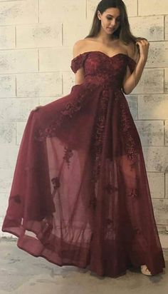 Stylish Burgundy Prom Dress - Off-the-Shoulder Floor-Length with Lace Appliques,Prom Dresses Long